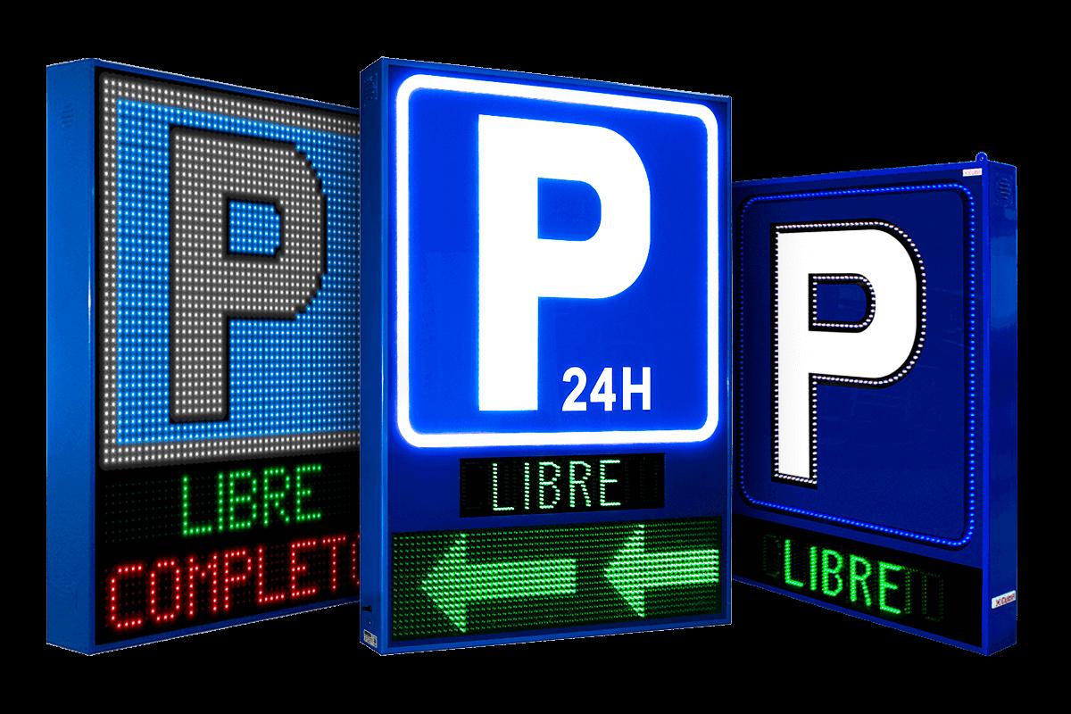 4 banderolas con libre/completo y pantalla LED Full Color p6 en Aparcamientos Indigo