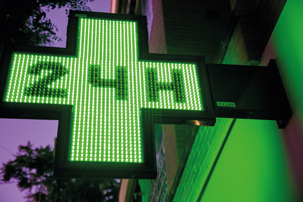 led verde cruces farmacia juan borbon